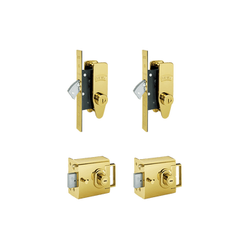 Banham L2000 (x2) + M2002 (x2) Lock Kit Polished Brass