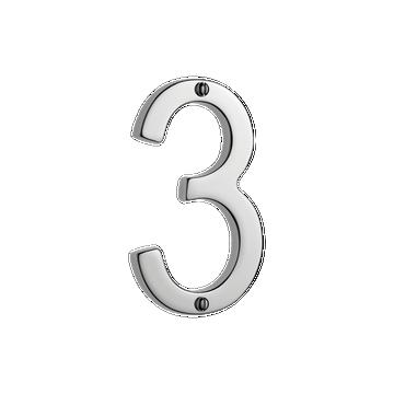 Banham Door Numeral 3 Polished Chrome