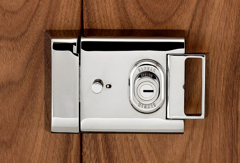 A Banham L2000 Rimlock, one of many types of door lock Banham offer.
