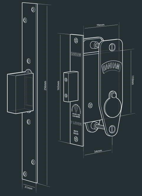 A detailed view of the Banham M97 Lever Mortice Deadlock door lock type.